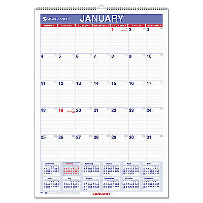 AT-A-GLANCE Monthly Wall Calendar with Ruled Daily Blocks 12 x 17 White 2017