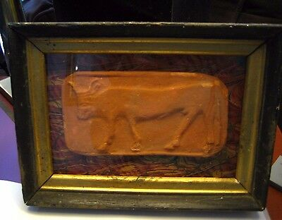Primitive Ancient Relic High Relief Cow Carving Terracotta Clay in Shadowbox