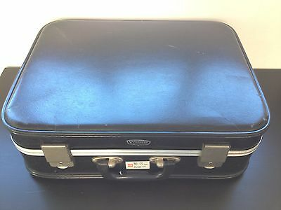 Vintage 1950's/60's Black Vanguard Cabin Suitcase Aluminium Trim Retro Luggage