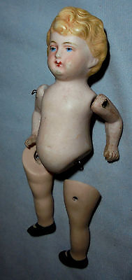 "Bisque Girl Doll, Blond, 3 On Back 5.25"" Tall Older"