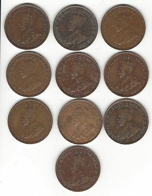 7. Lot Of 10 World Coins Australia One Penny Coppers 1911 To 1934 Dates