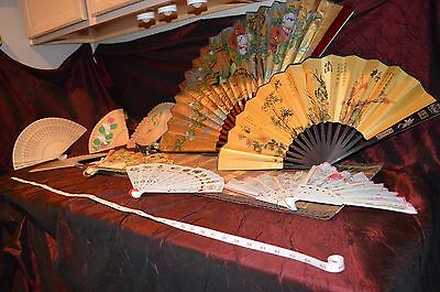 Lot of 10 Vintage Asian Wood Plastic Metal Material Decorated Painted Fans