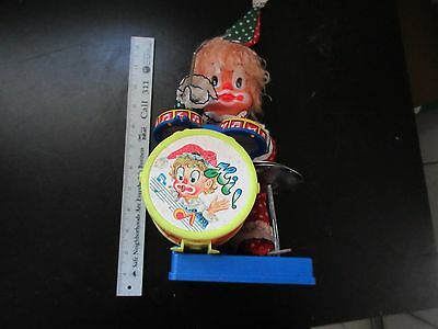 Vintage Hsiangshan Deville Clown Drummer Battery Operated Toy