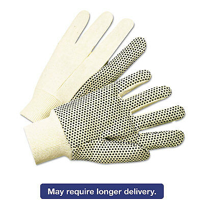 ANCHOR 1000 Series PVC Dotted Canvas Gloves White/Black Large 12 Pairs 1005