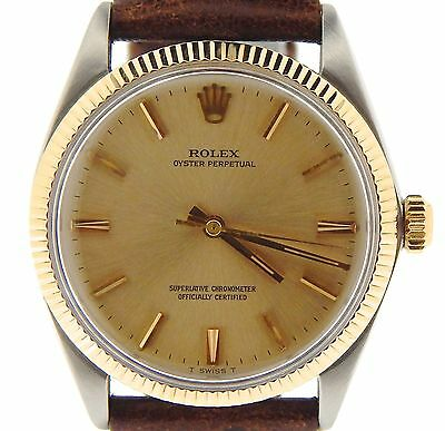 Mens Rolex 14K Yellow Gold/Stainless Steel Oyster Perpetual Brown Champagne 1005
