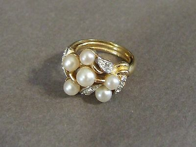 Avon Faux Pearl And Rhinestone Adjustable Size Goldtone Ring