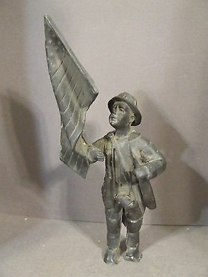 Antique Metal Firefighter Holding American Flag Statue Figurine
