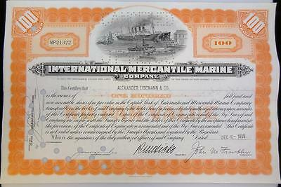 1939 International Mercantile Marine (TITANIC) Stock Certificate 100 Shares * S
