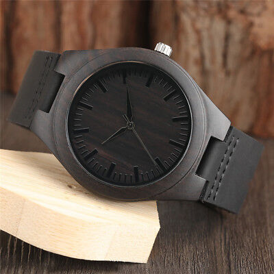 Casual Nature Wood Black Leather Band Strap Bamboo Men Women Quartz Wrist Watch
