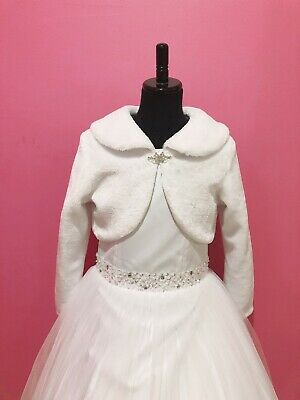SNS311-New White Faux Fur Long Sleeves Communion Flower Girl Jacket size 8 - 16.