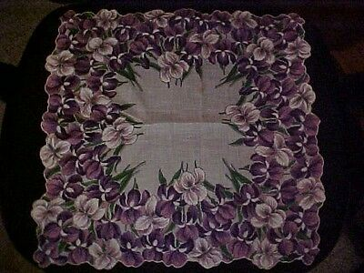 Vintage Large Hanky w/ Purple, Pink & White Iris Border