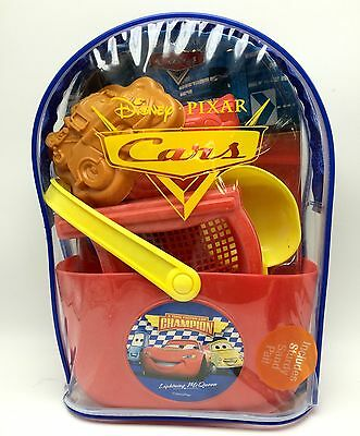 Disney Cars Beach Toys Set Sand Pail in a Clear Backpack New