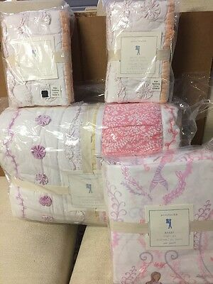 7pc Pottery Barn Kids Bailey Quilt Standard Shams Sheet Set Queen Coral NWT