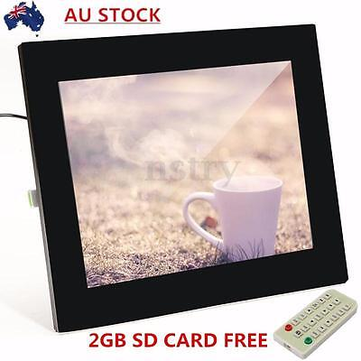 15'' FRAMELESS LED Digital Photo Frame Video Alarm Clock MP4 Player + 2GB Card