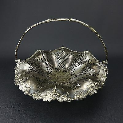 """Antique Footed PGS Silverplate Grape Fruit Bread 10"""" Basket Strainer with Handle"""