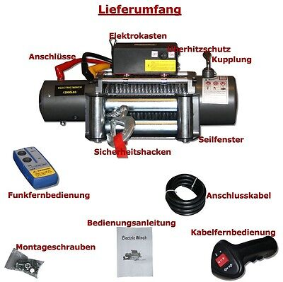 Electric Rope Winch 5900Kg 12V 12 Volt Motor with radio remote control