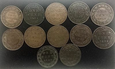 Canada Large Cents  Lot of 12 pieces Good mix Victoria to 1911 George V