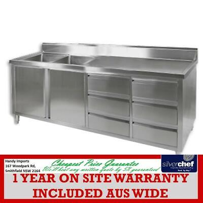 Fed Commercial Stainless Steel Bench Cabinet 2 Right Sinks Food Prep Dsc-2100L-H