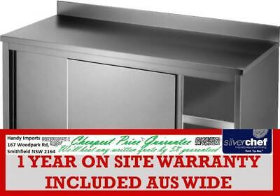 Fed Commercial Kitchen Tidy Workbench Cabinet With Handy Doors & Splashback-Dtht