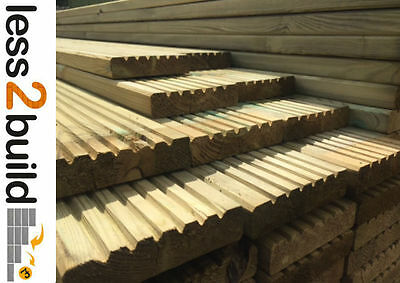 TREATED TIMBER DECKING BOARDS GARDEN Natural 38x125mm@ 2.4m select quantity