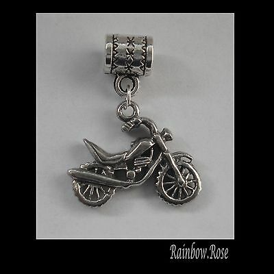 PEWTER CHARM suit European Bracelet #2011 MOTOR BIKE (22mm x 15mm) MOTORCYCLE