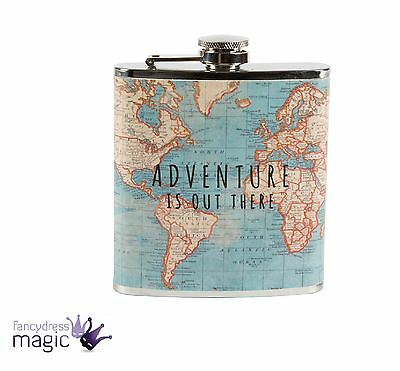 Sass & Belle Vintage Map Adventure Travel Stainless Steel Drink Hip Flask Gift
