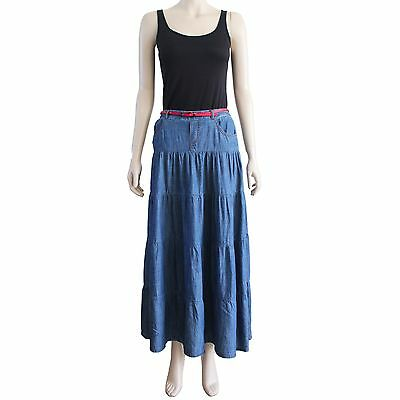 New Women's Blue Lightweight Tiered Maxi Denim Skirt Crinkle Wrinkle Size S M L