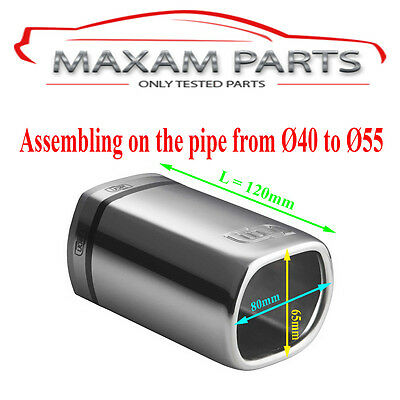 UNIVERSAL TAIL PIPE NX12-1, tail pipe 80x65mm, 120mm, assembling pipe fi 40-55mm