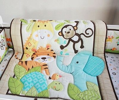 New 7 Pieces Adorable Animal designs l Baby Boy Crib Cot Bedding Quilt Set