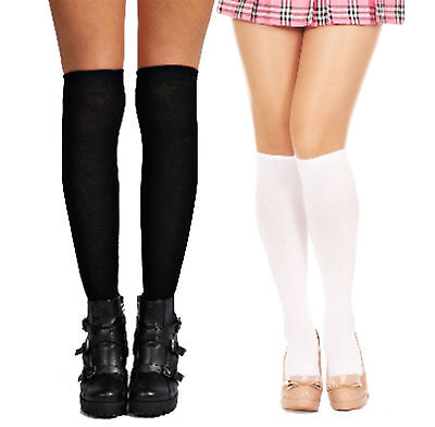 Ladies Long Cotton Stockings School girl Preppy Thigh Knee-High Socks White new