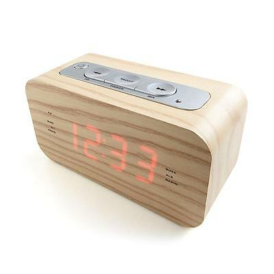 Wood-Style Block Clock/Radio/AUX Smartphone connection/Alarm/Digital Brown NEW
