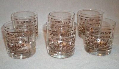 6 Levi Strauss & Co. Advertising Drinking Glass Glasses Tumbler Set
