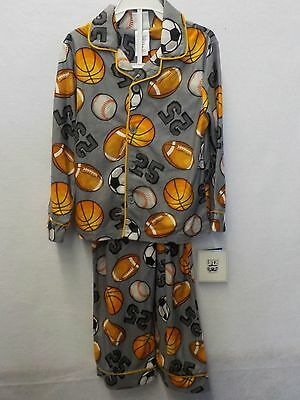 Boys Size 6 Up Late Gray Sports Football Baseball 2Pc Pajamas Pjs New 327^