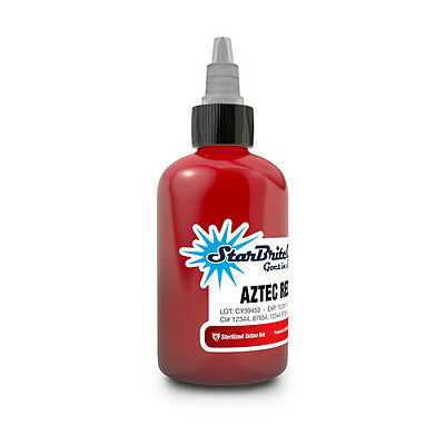 1/2 Oz AZTEC RED Starbrite Colors Tattoo Ink Sterilized USA MADE Pigment Pure