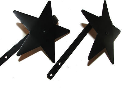 Black Wrought Iron Curtain Tie backs Star USA Made Hand Forged - 1 Pair