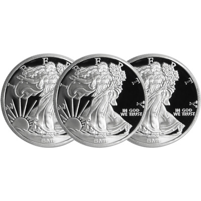 Lot of 3 - 1 Troy oz Sunshine Walking Liberty .999 Silver Round Mint Mark SI