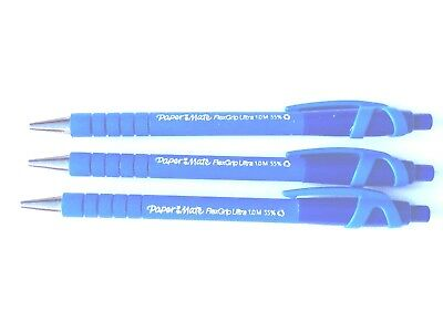 3 PACK PAPERMATE FLEXGRIP ULTRA RETRACTABLE BALL PENS 1.0mm PAPER MATE - BLUE