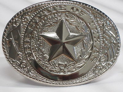 The State Of Texas Vintage Silver Belt Buckle