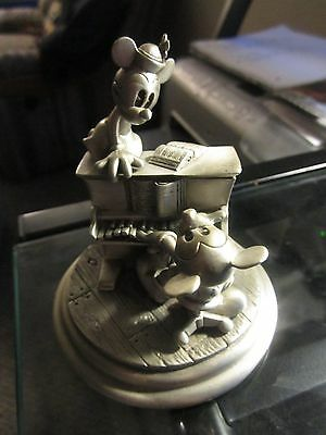Disney Numbered Mickey Minnie Mouse Pewter Piano with Clock 1097/5000
