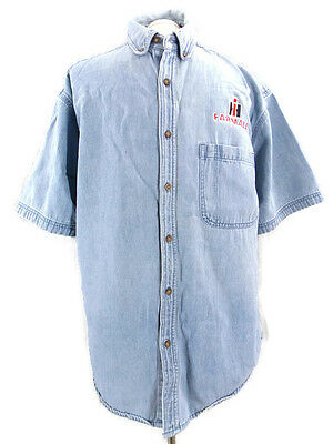 International Harvester IH Farmall Denim Shirt Short Sleeve Men's Size Medium