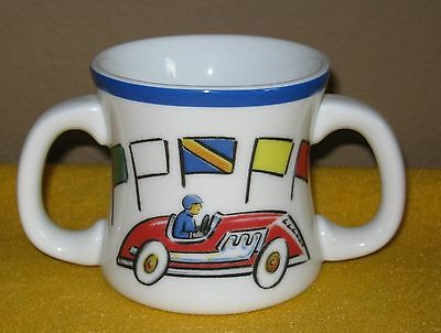 """Tiffany & Co. CHILD'S RACE CAR DOUBLE HANDLE CUP 3"""" High ©2002 Super Cute!"""