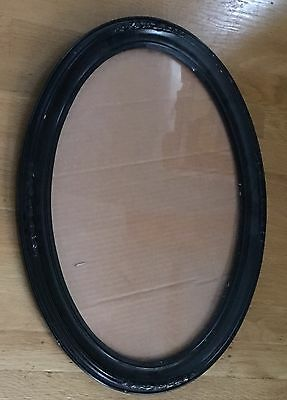"""Vintage Wood Decorative Gesso  Oval Wall Picture Frame Mirror 17""""x23"""" Make Offer"""