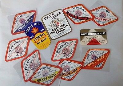 Lot of vintage unused paper labels soda flavors maple syrup general store 1900s