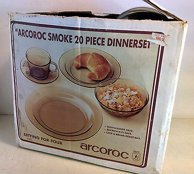 Vintage 20 Piece Smoke Dinner Set in Box Arcoroc France, Mostly New (4152)