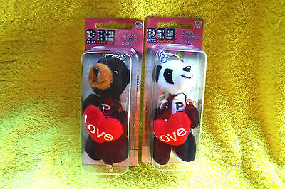 New In Packs 2 Cuddle Cubs(Heart/love)Series Bears Fuzzy Pez Dispensers-Retired!