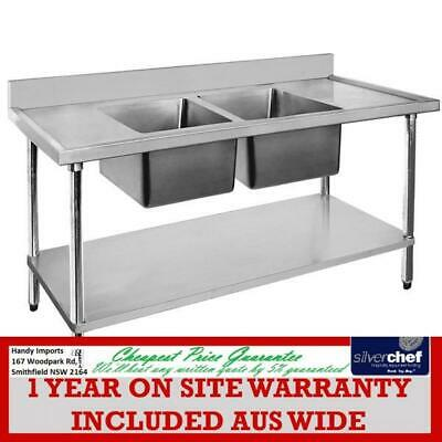 Fed Commercial 600X1200 Stainless Steel Double Sink 304 Grade Bench 1200-6-Dsbc
