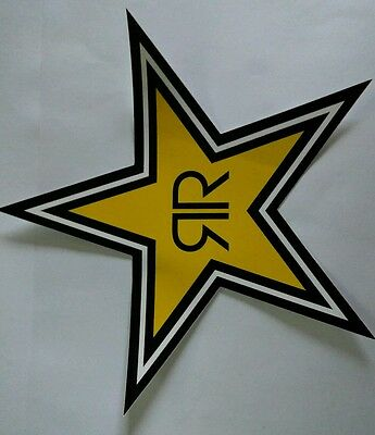 "(2) Rockstar Energy Decal Stickers  Black White Yellow 6""x6"""