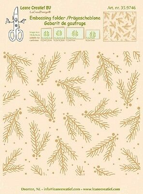 Leane Creatief Embossing Folder CHRISTMAS BRANCHES BACKGROUND 35.9746