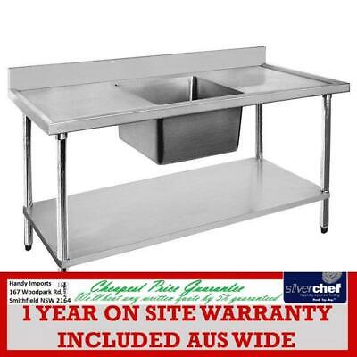 Fed Commercial 304 Grade Stainless Steel Single Sink Bench 600 Deep 1200-6-Ssbc