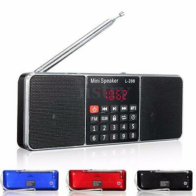 Portable Digital LCD FM Radio MP3 Music Player Micro SD USB AUX Stereo Speaker